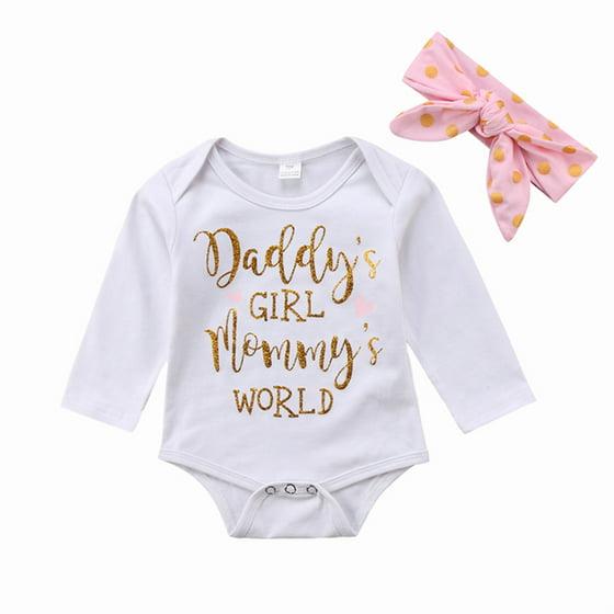 7c4af3c5912 Daddy s Girl Mommy s World Newborn Infant Baby Girls Clothes Romper  Bodysuit Jumpsuit + Headband Outfits Set - Walmart.com