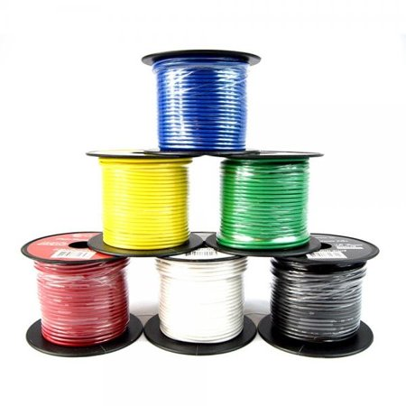 Stranded Ultra Flexible Single Conductor (16 GA Single Conductor Stranded Remote Wire 6 Rolls Primary Colors 12V 100'FT EA)