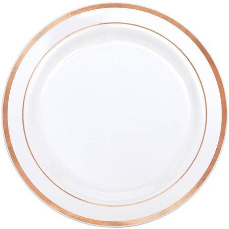 Rose Gold Trim Premium Dinner Plates, Pack of 10