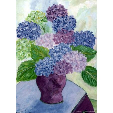 hydrangeas purple vase by brendan loughl 5x7 poster guilford ct modern day van gogh flowers on