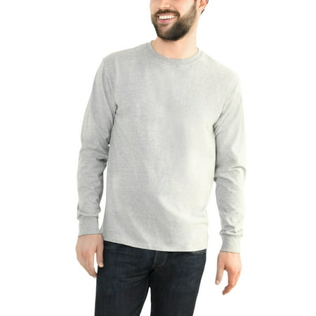 Fruit of the Loom Men's Platinum EverSoft Long Sleeve T-Shirt, Available up to size 4X (Jessica Black T-shirt)