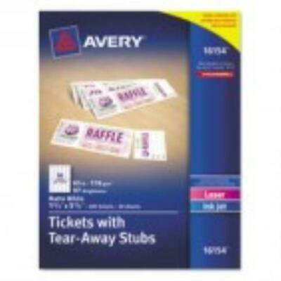 Avery Printable Tickets w/Tear-Away Stubs, 1-3/4 x 5-1/2,200 Tickets/Pk