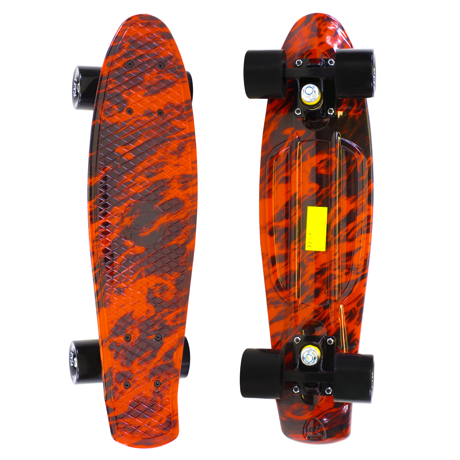 22 Skateboard Complete Street Retro Cruiser Flames Print Deck by Scale Sports