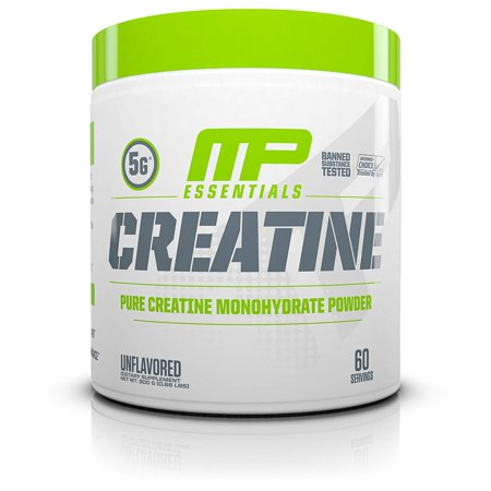 MP Essentials Micronized Creatine, Ultra-Pure 100% Creatine Monohydrate Powder, Muscle-Building, Protein Creatine Powder, Creatine Monohydrate Powder, 300 g, 60.., By Muscle Pharm
