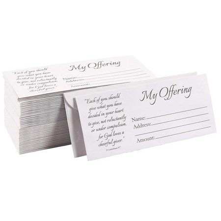 100-Pack Church Offering Envelopes - Tithe Envelopes for Church Offerings and Religious Occasions, Square Flap Envelopes, White, 7 x 3 Inches Thanksgiving Offering Envelope