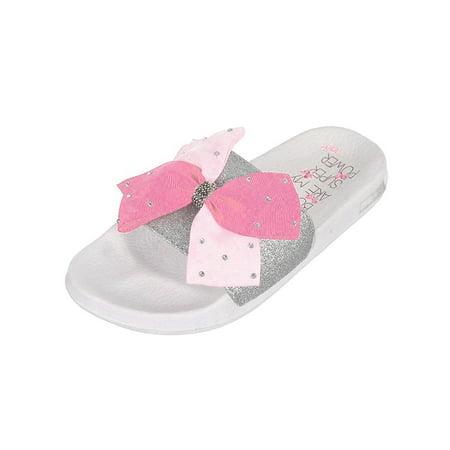 Cute Summer Sandals (Girls Cute Pink Bow Summer Slide Slip on White Sandals Jojo Siwa Sizes 13-5 )