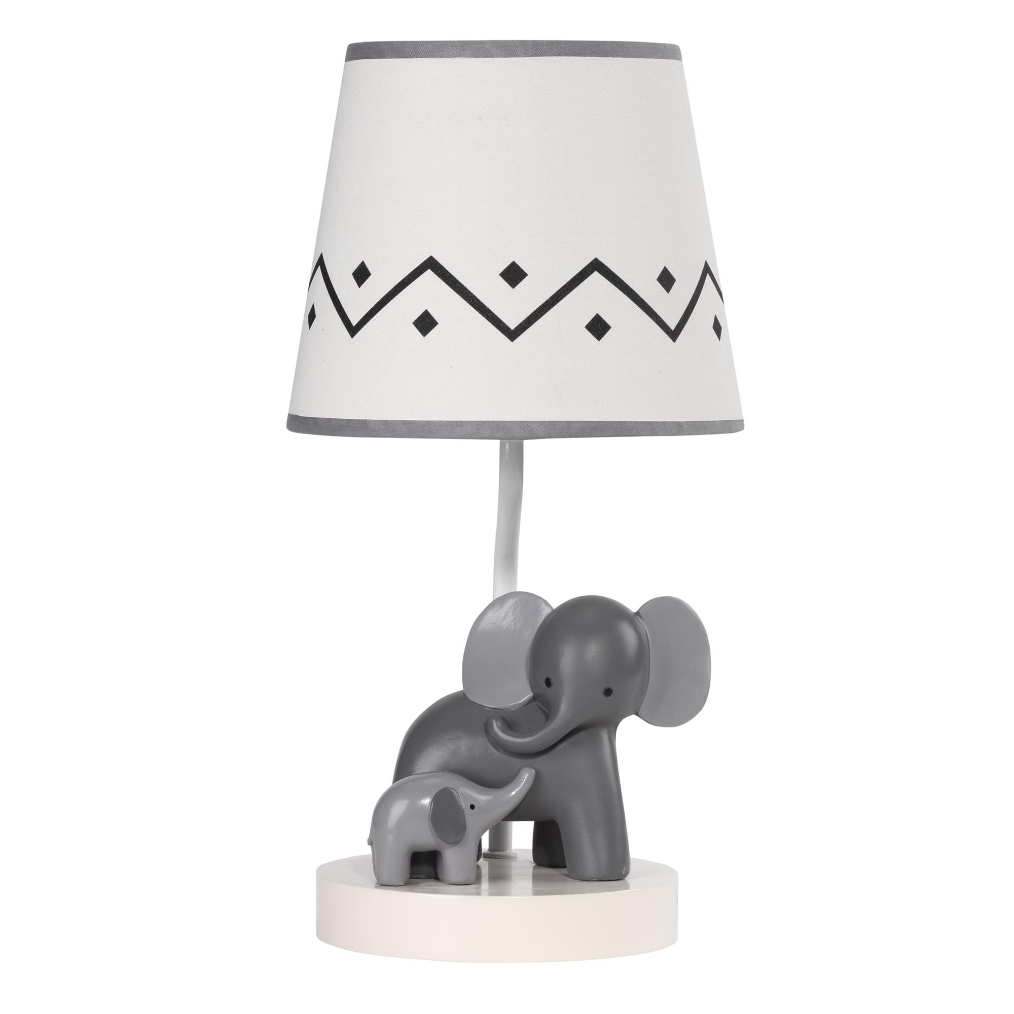 Lambs & Ivy Me & Mama White Gray Elephant Nursery Lamp with Shade & Bulb by Lambs & Ivy