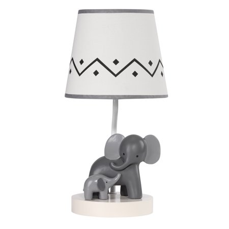 Lambs & Ivy Me & Mama White/Gray Elephant Nursery Lamp with Shade &
