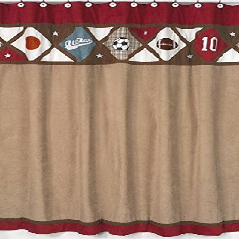 All Star Sports Kids Bathroom Fabric Bath Shower Curtain by Sweet Jojo Designs by