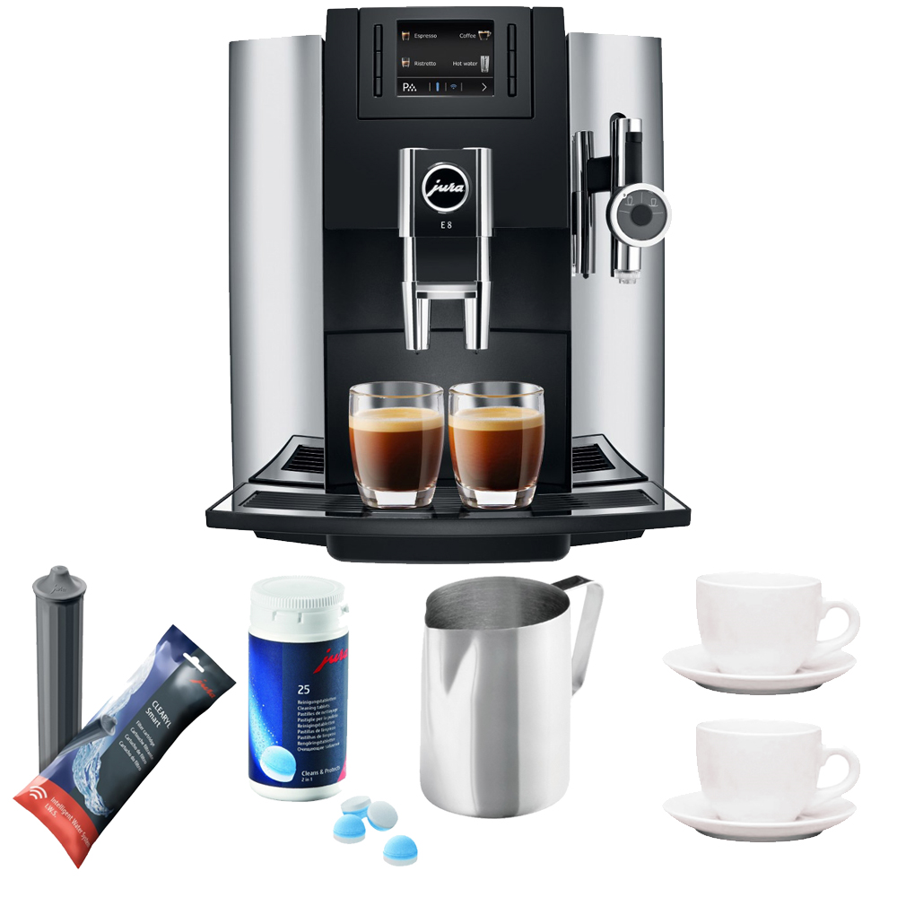 Jura E8 Espresso Coffee Machine + Cleaning Tablets + Cups...