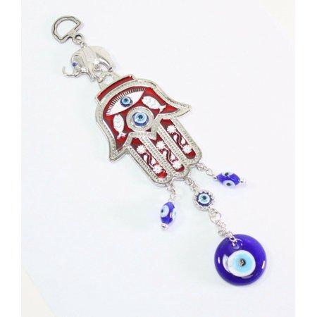 Turkish Blue Evil Eye Red Hamsa Hand Elephant Amulet Wall Hanging Protection GP65110 ()