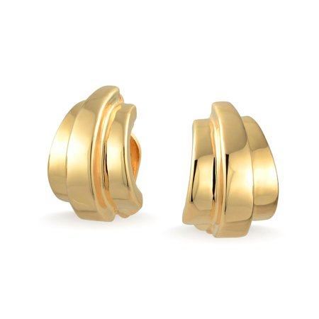 Geometric Shrimp Half Hoop Clip On Earrings For Women Non Pierced Ears Shinny 14K Gold Plated (Half Hoop Clip)