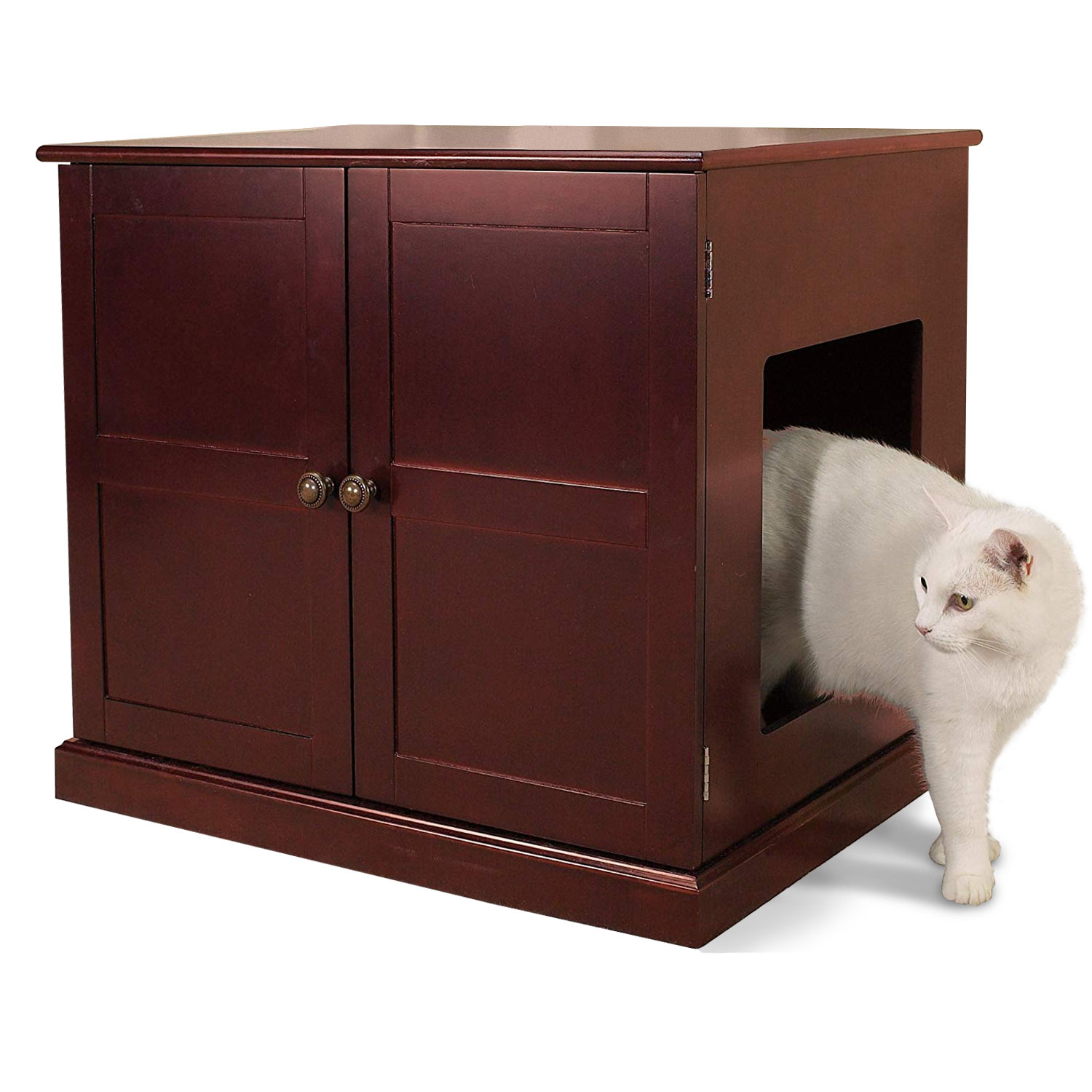 Meow Town Concord Litter Box Cabinet Furniture for Cats and Kittens, Mahogany