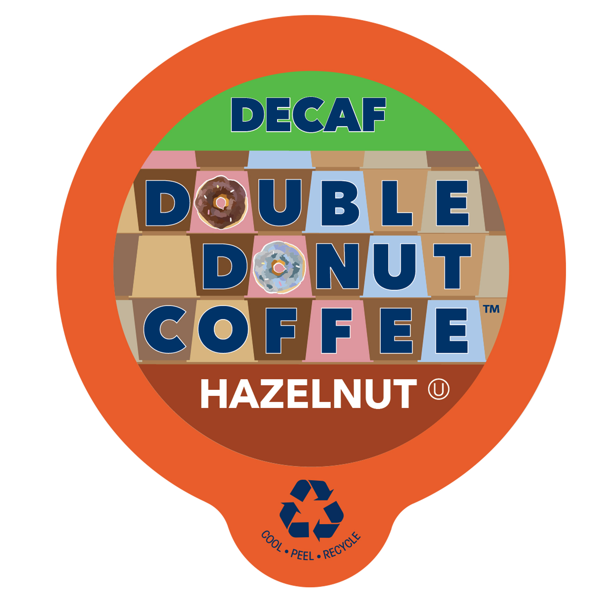 Double Donut, Decaf Hazelnut Coffee Single Serve Cups, 24 Ct