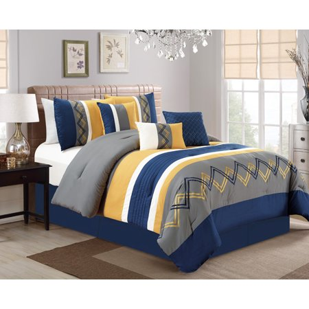 11 Piece Chevron Embroidered Navy Yellow Gray Bed In A Bag