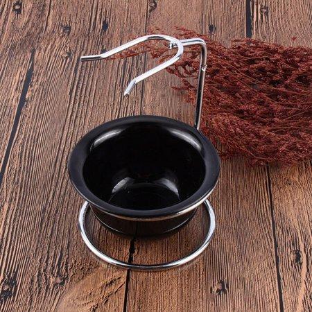 70s Sheer - Hilitand 2 in 1 Shaving Brush Kit Men's Stainless Steel Shaving Razor Brush Holder + Black Soap Bowl Men Barber Grooming Razor Tool