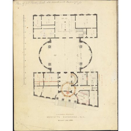 First Merchants Exchange New York  Plan Of Main Floor  Poster Print By Alexander Jackson Davis  American New York 1803   1892 West Orange New Jersey   18 X 24