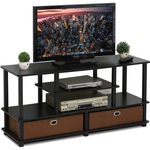 "Furinno JAYA TV Stand for up to 50"" TVs with Storage Bin, 15119EXBKBR"