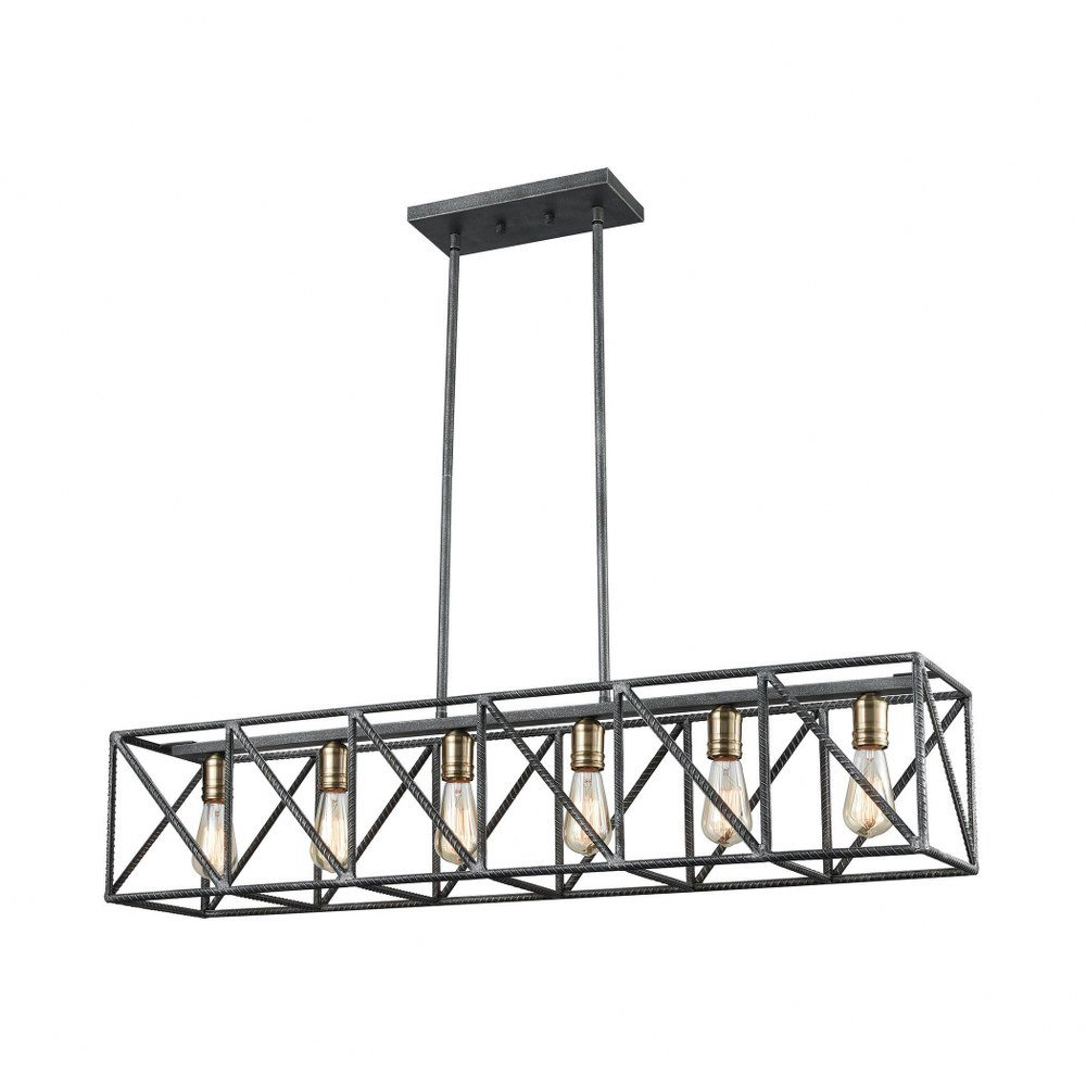 Six Light Linear Geometric Chandelier With Crisscrossing Re Bar And Exposed Walmart Canada