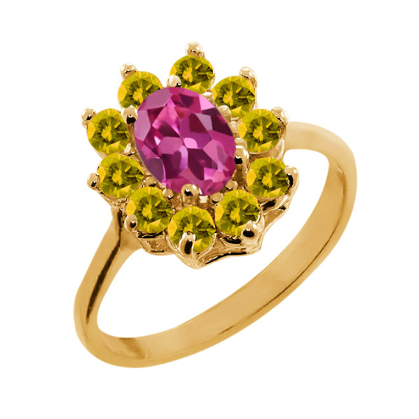 1.35 Ct Oval Pink Tourmaline Yellow Sapphire 18K Yellow Gold Ring by