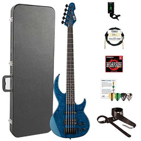 ESP LBB1005QMBLKAQ-KIT-2 Bunny Brunel Signature Series BB-1005 QM 5-String Electric Bass, Black
