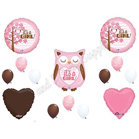 Baby Girl Owl Shower Balloons Decorations Supplies (Baby Shower Decorations Owls)