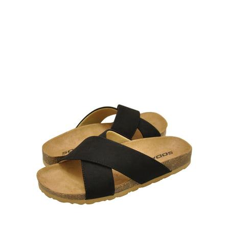 Suede Criss Cross - Soda MIDGE-SWomen's Faux Suede Criss Cross Slip On Sandals