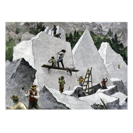 Quarrying Stone for the Mormon Temple in Salt Lake City, Utah, 1870s Print Wall (Bird Stores In Salt Lake City Utah)