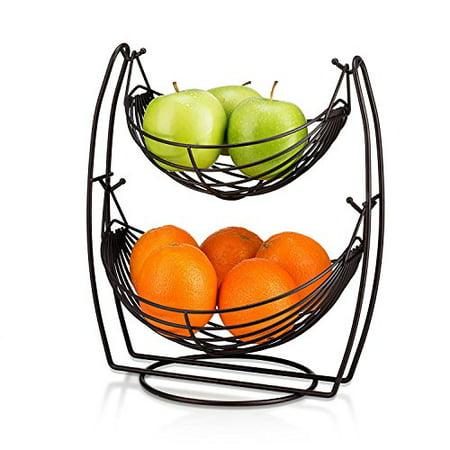 2 Tier Metal Fruit Basket Double Hammock Kitchen Iron Fresh Veggie Produce Storage Baskets Tiered Countertop Vegetables Rack Premium Quality Tabletop Swing
