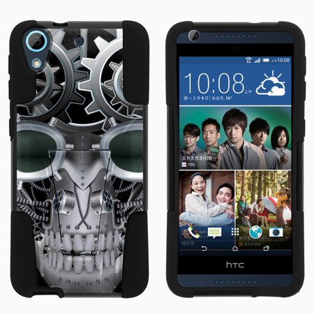 HTC Desire 626 STRIKE IMPACT Dual Layer Shock Absorbing Case with Built-In Kickstand - Mechanical Skull