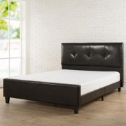 Priage  Tufted Espresso Faux Leather Full Size Platform Bed with Footboard