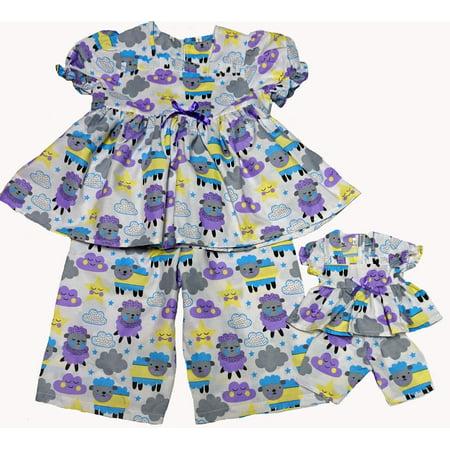 Size 8 Matching Girl And Doll Counting Sheep Pajamas