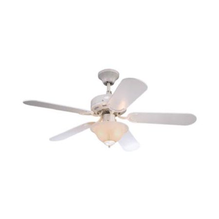 Westinghouse Fan & Lighting 78772-6548 Ceiling Fan With Alabaster Light Fixture, White, 5 Blades, 42-In. - Quantity 1