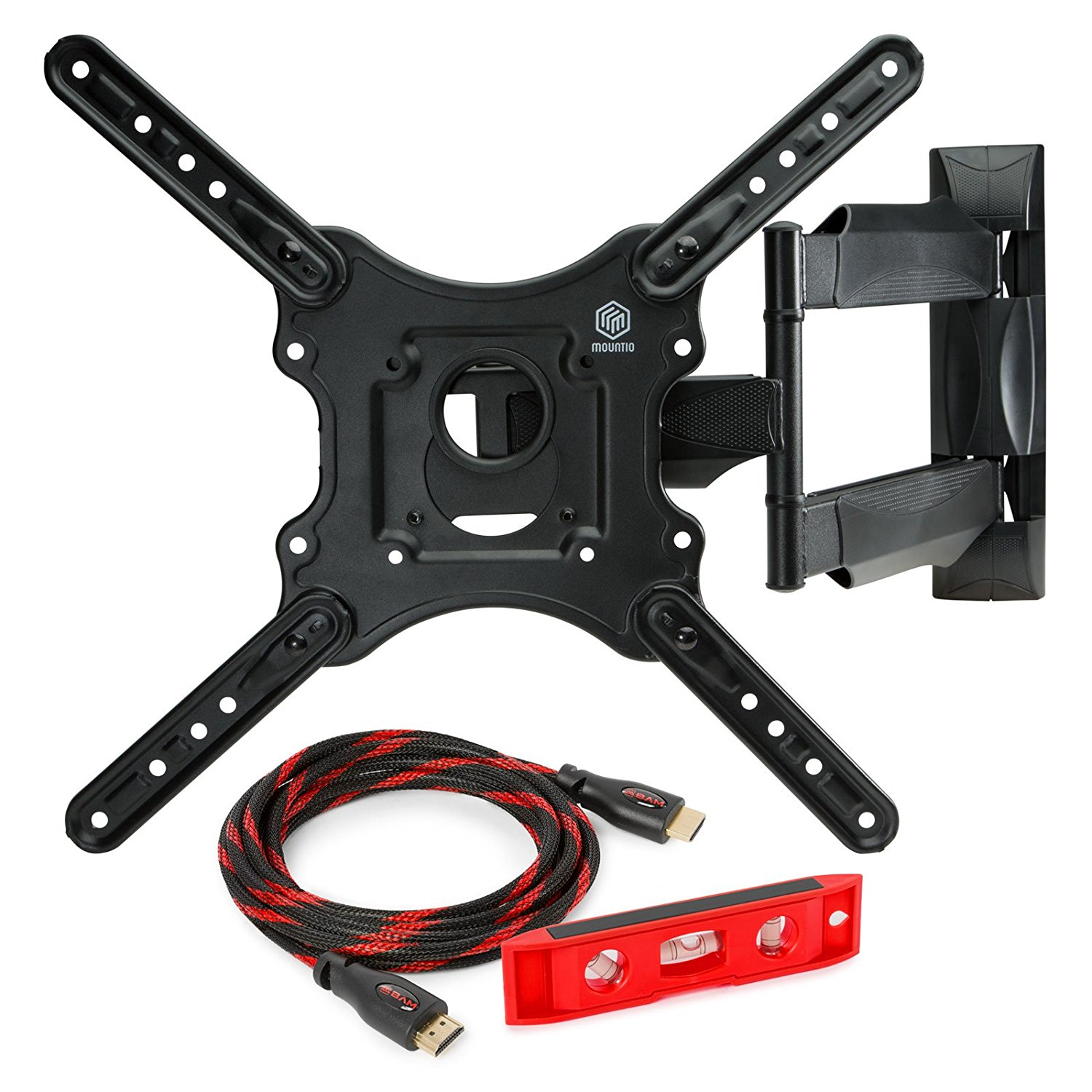 "Mountio MX1 Full Motion Articulating TV Wall Mount Bracket for 32""-52"" LED LCD Plasma Flat Screen Monitor up to 70 lbs and VESA 400x400mm"