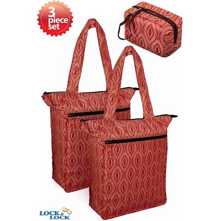 Lock & Lock Retro Tote Insulated Cooler Grocery Bags with Carrying Pouch