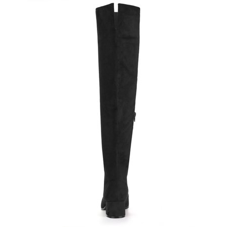 ec69aa383e1 Unique Bargains Women s Block Heel Round Toe Over the Knee Boots Black (Size  6.5) ...