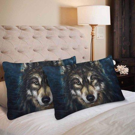 GCKG Digital Painting Wolf Head Pillow Cases Pillowcase 20x30 inches Set of 2 - image 3 de 4