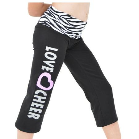 Girl's Capri LOVE CHEER Yoga Pants - Small (6) / Zebra