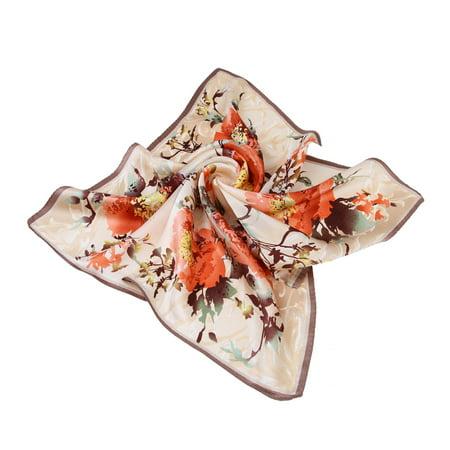 Premium 100% Pure Silk Floral Print Small Square Scarf 21