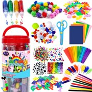 FunzBo Arts and Crafts Supplies for Kids - Craft Art Supply Kit for Toddlers Age 4 5 6 7 8 9 - All in One D.I.Y. Crafting School Kindergarten Homeschool Supplies Arts Set Christmas Crafts