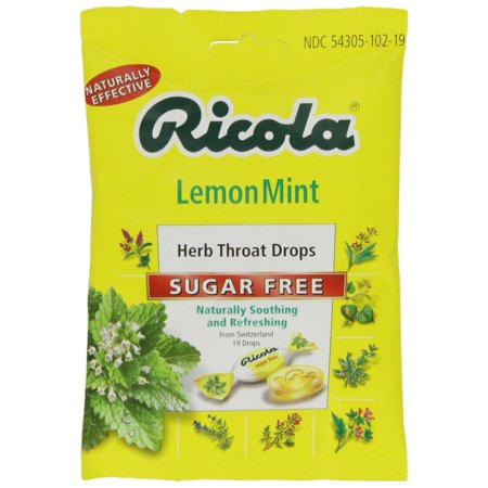 6 Pack Ricola Lemon Mint Herb Throat Drops Sugar Free 19 Drops (Remedies For A Scratchy Throat And Cough)