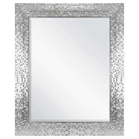 "Better Homes & Gardens 23"" x 28"" Silver Mosaic Tile Mirror"