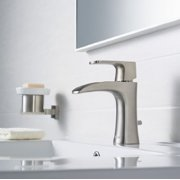 RIVUSS FBS-300-BN Carrion Lead Free Solid Brass Single Lever Bathroom Faucet with Pull Out Waste Brushed Nickel