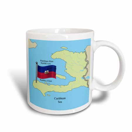 3dRose The flag and map of Haiti with the Republic of Haiti printed in English, French and Haitian Creole., Ceramic Mug, 11-ounce