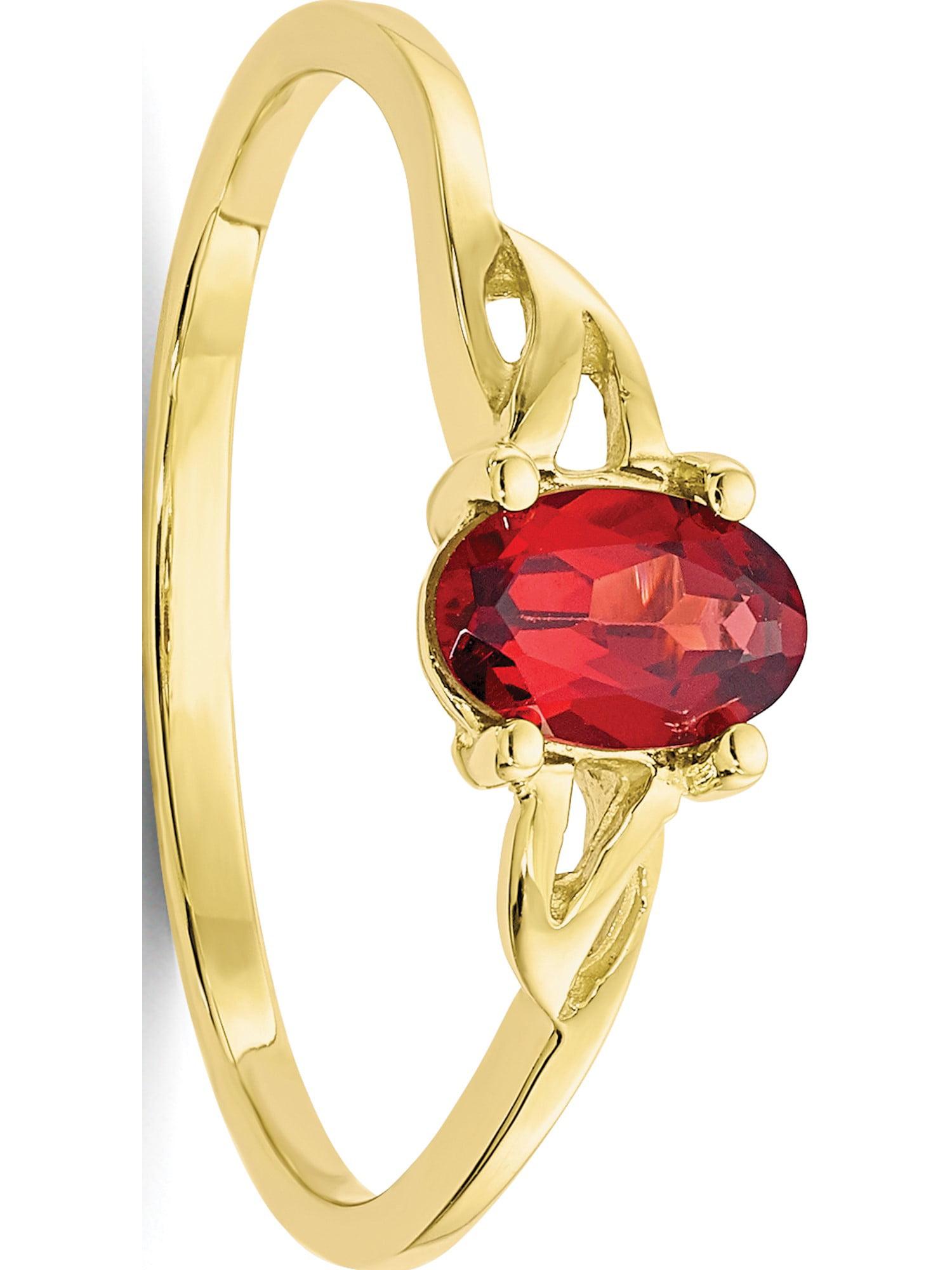 10k Yellow Gold Polished Geniune Garnet Birthstone Ring by