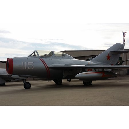 Canvas Print Fighter Jet Mig-15 Plane Aviation Aircraft-Soldier Stretched Canvas 10 x 14 ()
