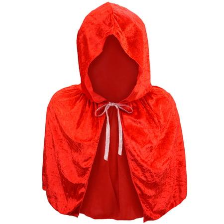 SeasonsTrading Child Red Velvet Hooded Cape Capelet - Kids Little Red Riding Hood Vampire Devil Princess Costume, Cosplay, Party,