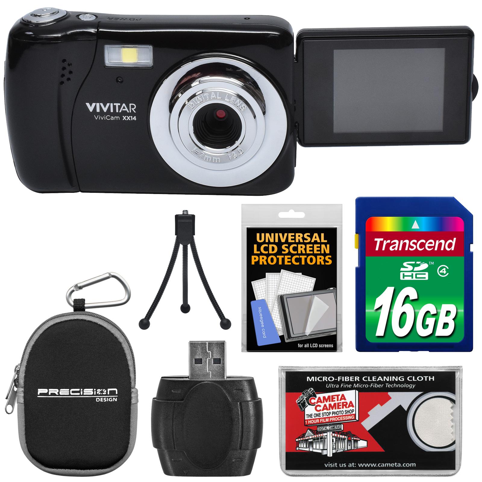 Vivitar ViviCam VXX14 Selfie Digital Camera (Black) with 16GB Card + Case + Tripod + Reader + Kit