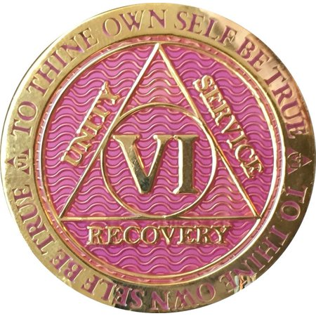 6 Year AA Medallion Reflex Lavender Pink Gold Plated Sobriety Chip