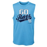 MLB Tampa Bay RAYS TEE Sleeveless Boys Fashion Jersey Tee 100% Polyester Quick Dry Alternate Color Team Tee 4-18